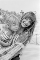 Jane Birkin at Home with Her Daughter Kate